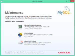 Started MySql Installer to remove and reinstall MySql database engine